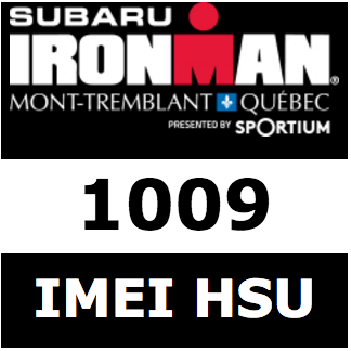 Logo and icon of WTC Ironman races, with name of author and bib number.